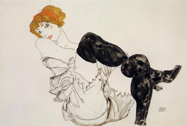 Egon Schiele   Woman in Black Stockings