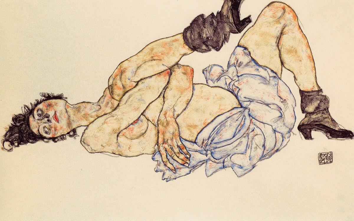 Egon Schiele. Reclining female nude, 1917